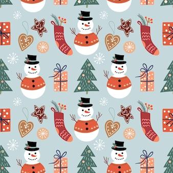 Modèle sans couture décoratif hiver avec bonhommes de neige, arbres de noël et décorations