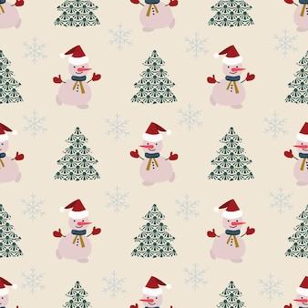 Modèle sans couture décoration de noël fond blanc bonhomme de neige flocons décor festif nouvel an