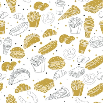 Modèle sans couture décorative de fast-food.