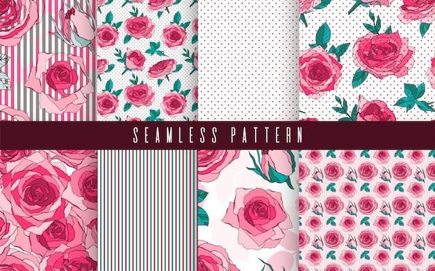 Modèle sans couture définie fleur nature rose. ornement floral, ethnique romantique botanique.