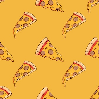Modèle sans couture de délicieuse tranche de pizza avec style doodle