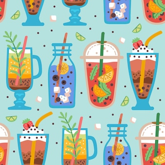 Modèle sans couture avec de délicieuses boissons végétaliennes de délicieux jus ou smoothies à base de baies