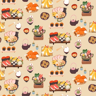 Modèle sans couture de délicieux repas japonais