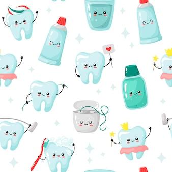 Modèle sans couture avec des dents mignonnes et des articles de soins dentaires sur fond blanc. kawaii drôle.