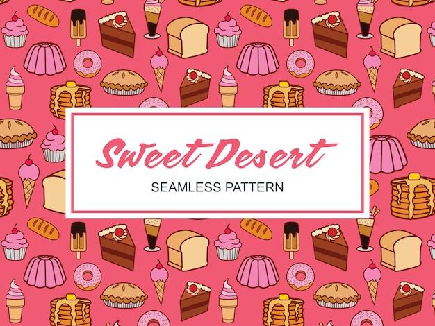 Modèle sans couture de désert de bonbons dessinés à la main de dessin animé