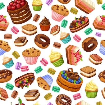 Modèle sans couture de desserts colorés de dessin animé