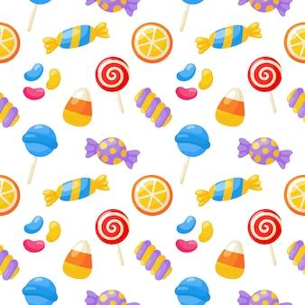 Modèle sans couture de desserts sucrés kawaii mignon bonbons pastel avec différents types sur blanc
