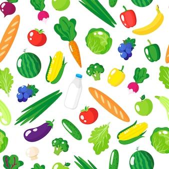 Modèle sans couture de dessin animé avec des aliments biologiques sains frais, des légumes et des fruits isolés sur fond blanc.