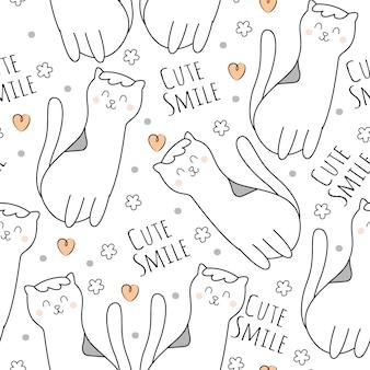 Modèle sans couture de dessin animé bébé chat