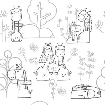 Modèle sans couture dessin animé bébé girafe