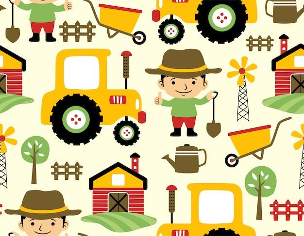 Modèle sans couture de dessin animé de champ de ferme