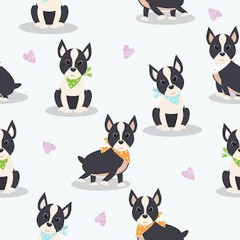Modèle sans couture avec dessin animé chien mignon