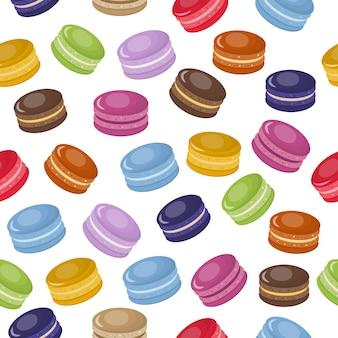 Modèle sans couture dessin animé coloré macarons doux