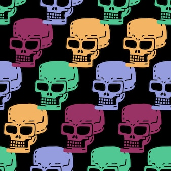 Modèle sans couture de dessin animé de crâne. squelette tête dessin ornement.