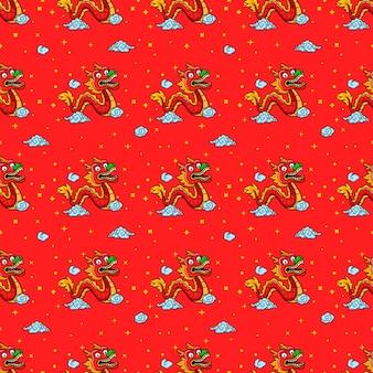 Modèle sans couture de dessin animé de danse du dragon chinois