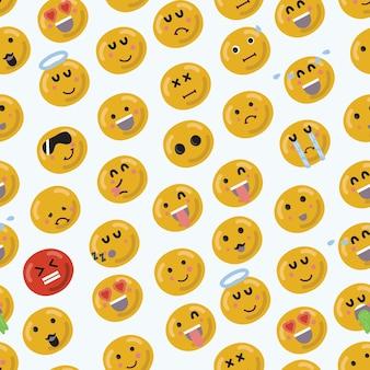 Modèle sans couture de dessin animé drôle smiley emojii visage