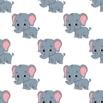 Modèle sans couture de dessin animé éléphant heureux