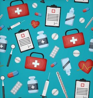 Modèle sans couture de dessin animé avec équipement médical pour papier d'emballage cadeau, couverture et marquage sur fond bleu. concept de soins de santé et de médecine.