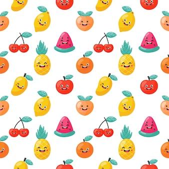 Modèle sans couture dessin animé fruits tropicaux caractères kawaii style. isolé