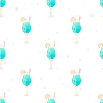 Modèle sans couture de dessin animé. gobelets en verre à long pied avec cocktail et tranche de citron. boisson alcoolisée ou non alcoolisée bleue avec une paille et des bulles.