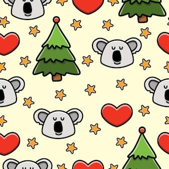 Modèle sans couture de dessin animé koala doodle