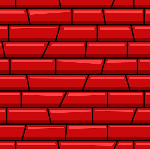 Modèle sans couture de dessin animé de ligne de brique rouge