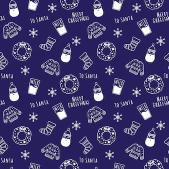 Modèle sans couture de dessin animé linéaire blanc noël et nouvel an avec santa, guirlande, lait, flocons de neige, chaussette, pull.