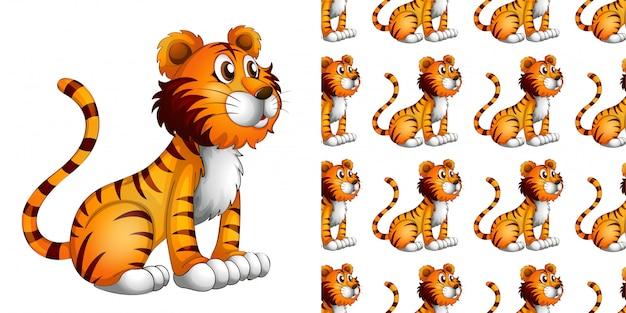 Modèle sans couture de dessin animé lion