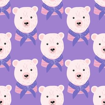Modèle sans couture de dessin animé avec marin ours blanc