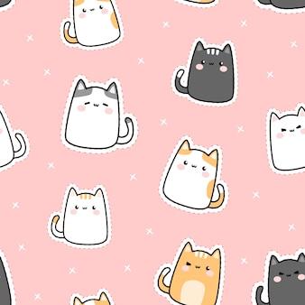 Modèle sans couture de dessin animé mignon adorable gros chat inférieur kitty doodle