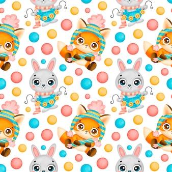 Modèle sans couture de dessin animé mignon animaux de noël. motif de renard et lapin de noël.