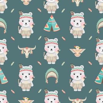 Modèle sans couture de dessin animé mignon animaux polaires amérindiens