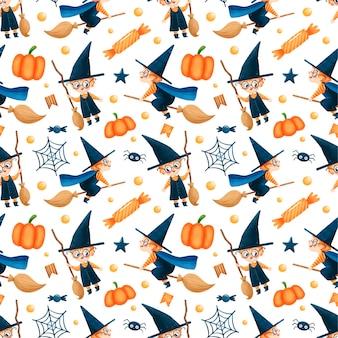 Modèle sans couture de dessin animé mignon assistant halloween