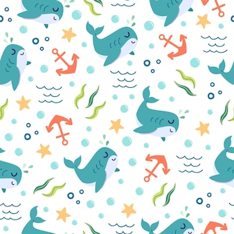 Modèle sans couture de dessin animé mignon baleines dans l'océan
