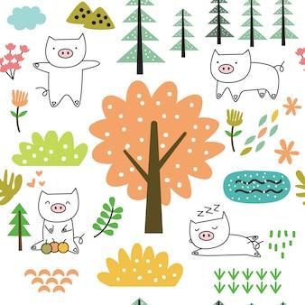 Modèle sans couture dessin animé mignon bébé cochon