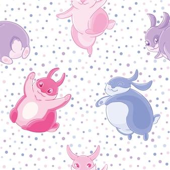 Modèle sans couture avec dessin animé mignon bleu et rose petits lapins sur fond de cofetti.