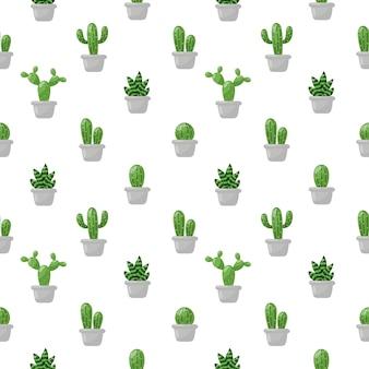 Modèle sans couture dessin animé mignon de cactus isolé sur blanc.