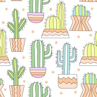 Modèle sans couture dessin animé mignon cactus
