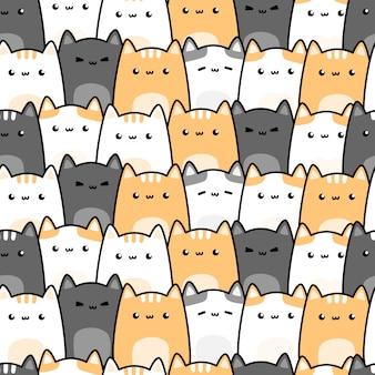 Modèle sans couture de dessin animé mignon chat chaton doodle