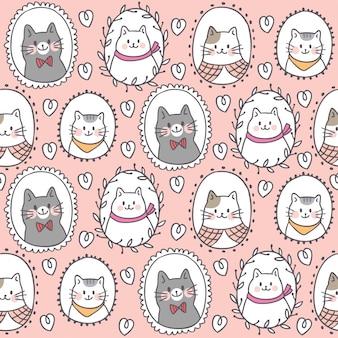 Modèle sans couture dessin animé mignon chat doux
