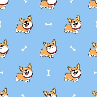 Modèle sans couture de dessin animé mignon chien gallois corgi
