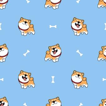 Modèle sans couture de dessin animé mignon chien shiba inu