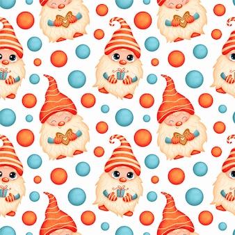 Modèle sans couture de dessin animé mignon gnomes de noël