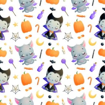 Modèle sans couture de dessin animé mignon halloween
