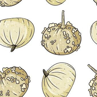Modèle sans couture dessin animé mignon knucklehead citrouilles blanc.