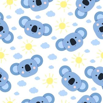 Modèle sans couture de dessin animé mignon koala avec soleil et nuage