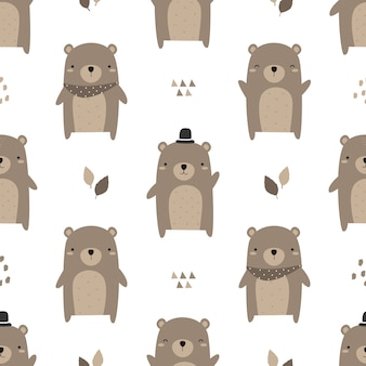 Modèle sans couture de dessin animé mignon nounours doodle