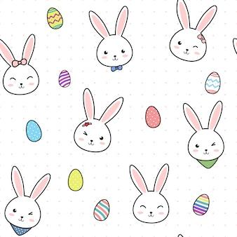 Modèle sans couture de dessin animé mignon oeuf de pâques lapin lapin