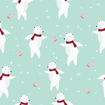 Modèle sans couture dessin animé mignon ours polaire.