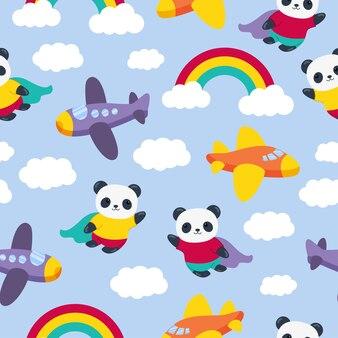 Modèle sans couture de dessin animé mignon panda avec des avions et arc-en-ciel